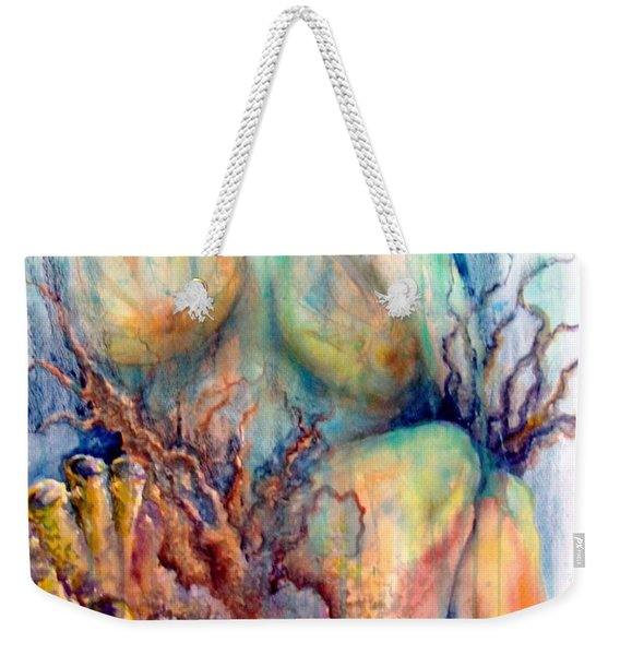 Weekender Tote Bag featuring the painting Lady In The Reef by Ashley Kujan