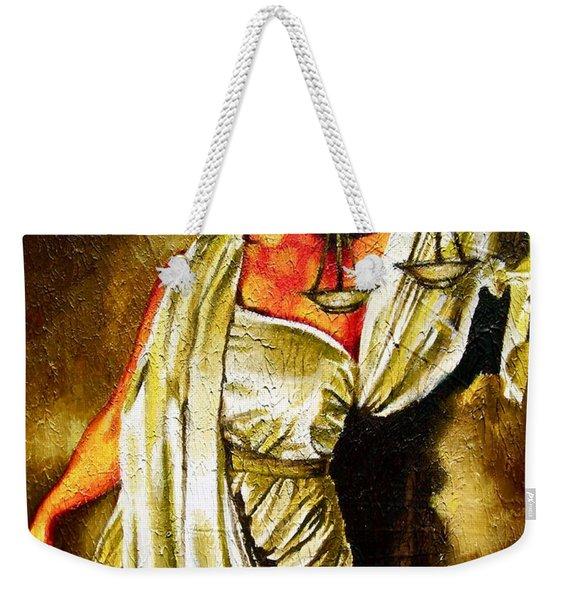 Lady Justice Sepia Weekender Tote Bag
