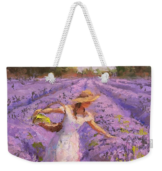 Woman Picking Lavender In A Field In A White Dress - Lady Lavender - Plein Air Painting Weekender Tote Bag