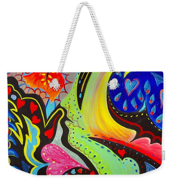 Weekender Tote Bag featuring the painting Lady Love by Nancy Cupp