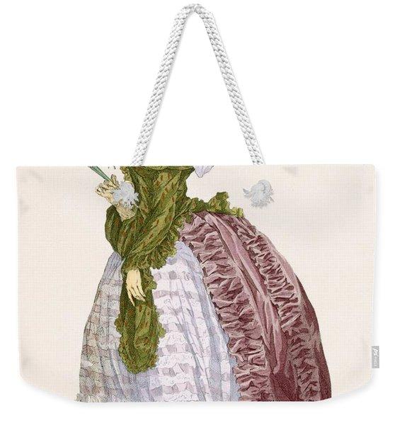 Ladys Elaborate Gown In Burgundy Weekender Tote Bag