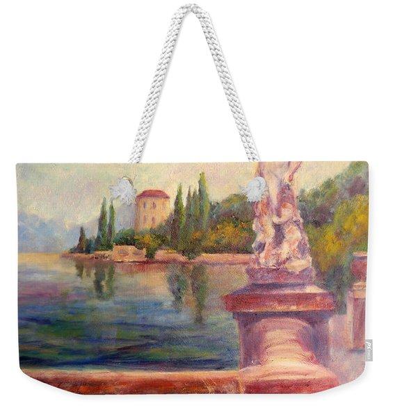 Lake Como View Weekender Tote Bag