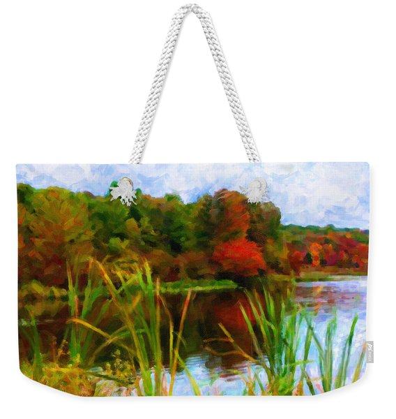 Lake In Early Fall Weekender Tote Bag