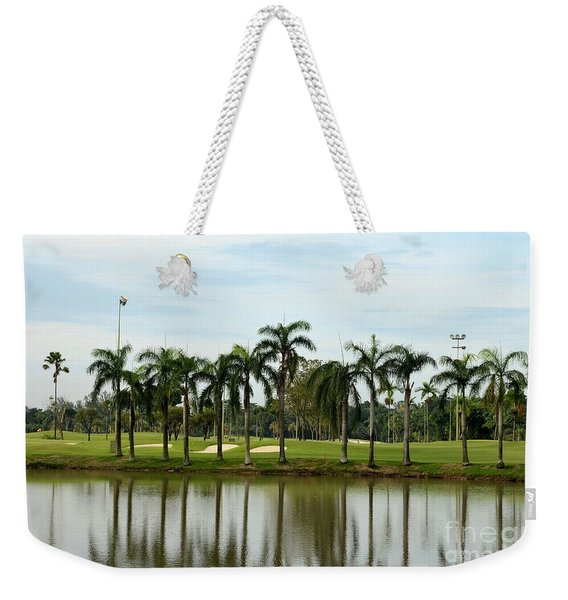 Lake Sand Traps Palm Trees And Golf Course Singapore Weekender Tote Bag