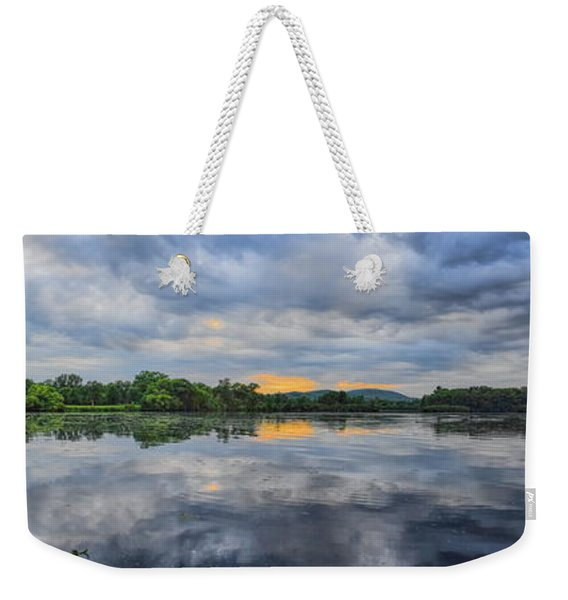Lake Wausau Summer Sunset Panoramic Weekender Tote Bag