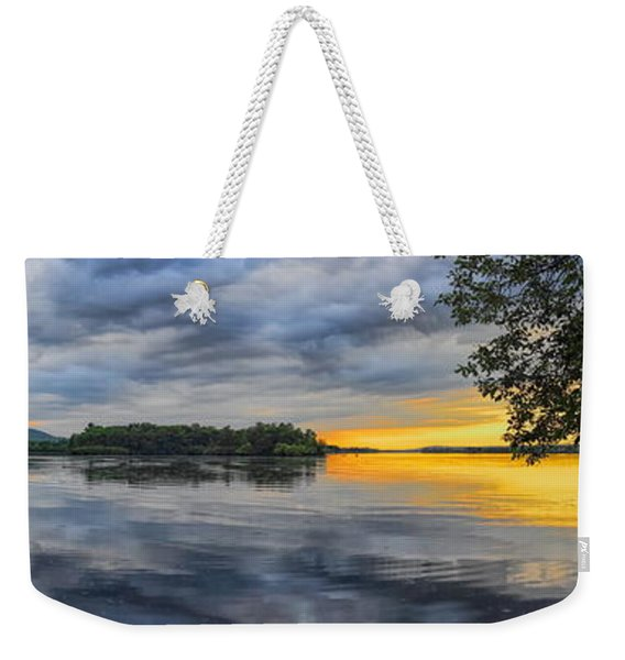 Lake Wausau Summer Sunset Panoramic Weekender Tote Bag