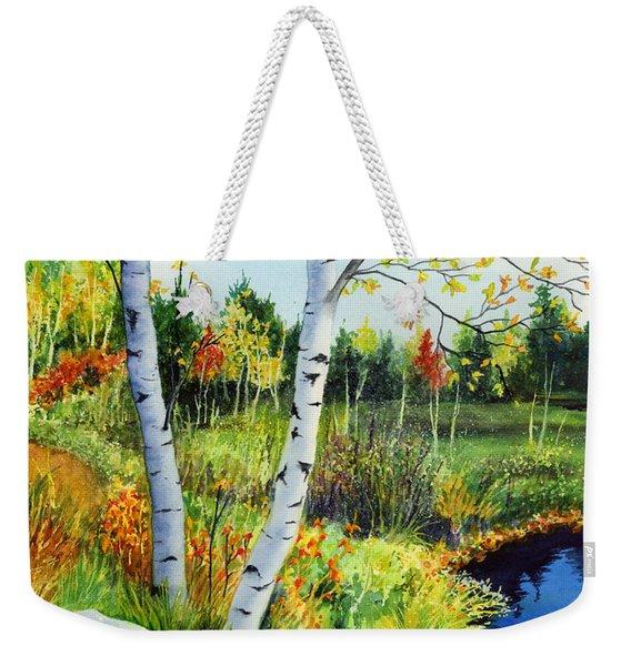 Lakeside Birches Weekender Tote Bag