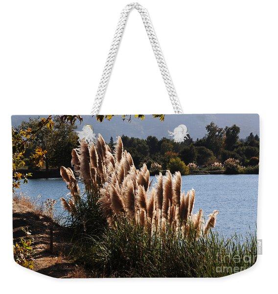 Lakeside In Early Autumn Weekender Tote Bag