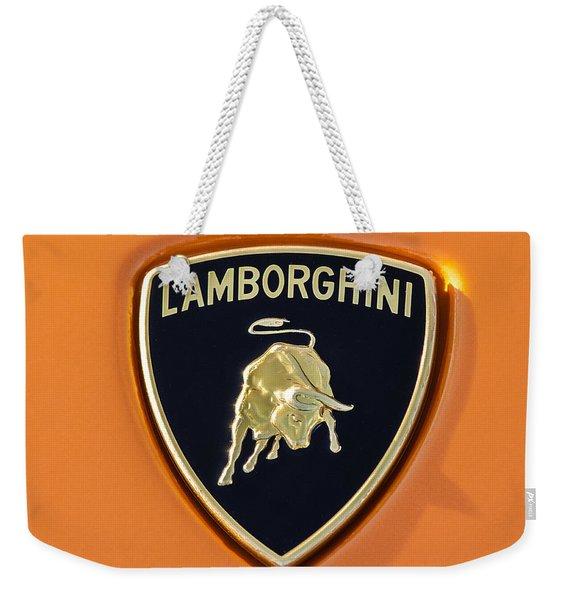 Weekender Tote Bag featuring the photograph Lamborghini Emblem -0525c55 by Jill Reger