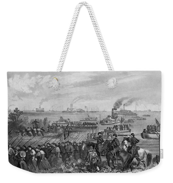 Landing Of Troops On Roanoke Island, Burnside Expedition, 8th February 1862, Engraved By George E Weekender Tote Bag