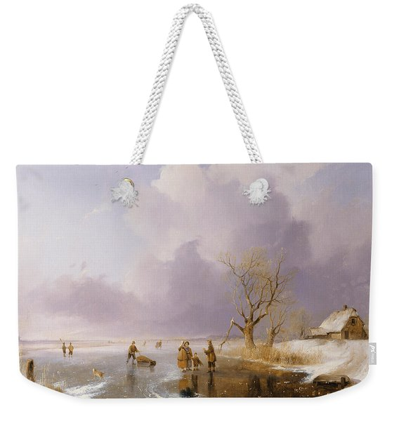 Landscape With Frozen Canal Weekender Tote Bag