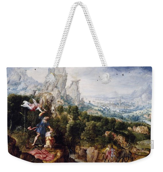 Landscape With The Offering Of Isaac, C.1540 Oil On Panel Weekender Tote Bag