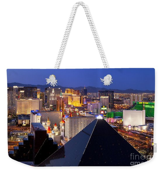 Weekender Tote Bag featuring the photograph Las Vegas Skyline by Brian Jannsen