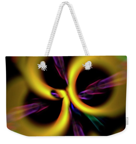 Weekender Tote Bag featuring the digital art Laser Lights Abstract by Carolyn Marshall