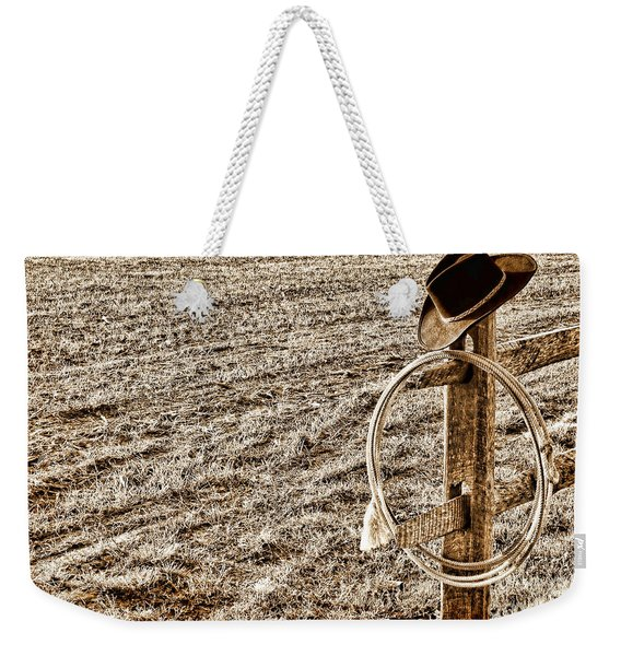 Lasso And Hat On Fence Post Weekender Tote Bag