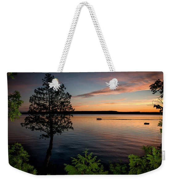 Weekender Tote Bag featuring the photograph Last Cast by Doug Gibbons