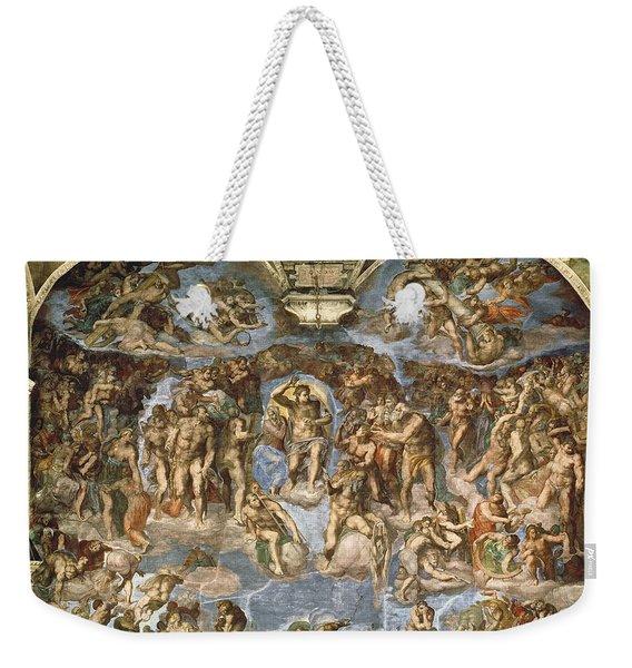 Last Judgement, From The Sistine Chapel, 1538-41 Fresco Weekender Tote Bag