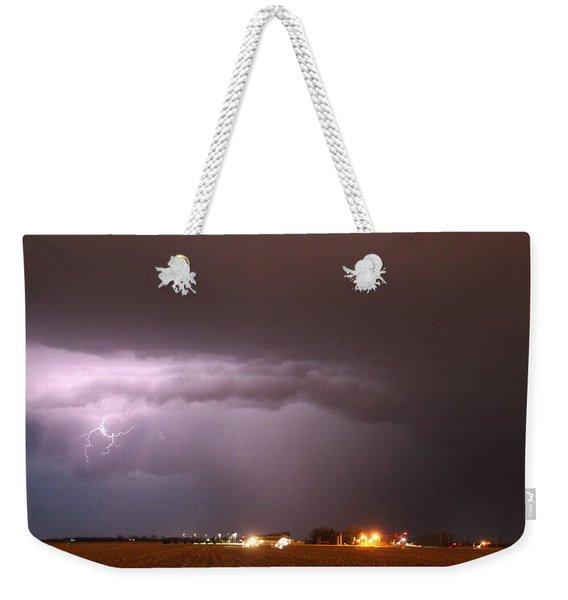 Weekender Tote Bag featuring the photograph Late Evening Nebraska Thunderstorm by NebraskaSC