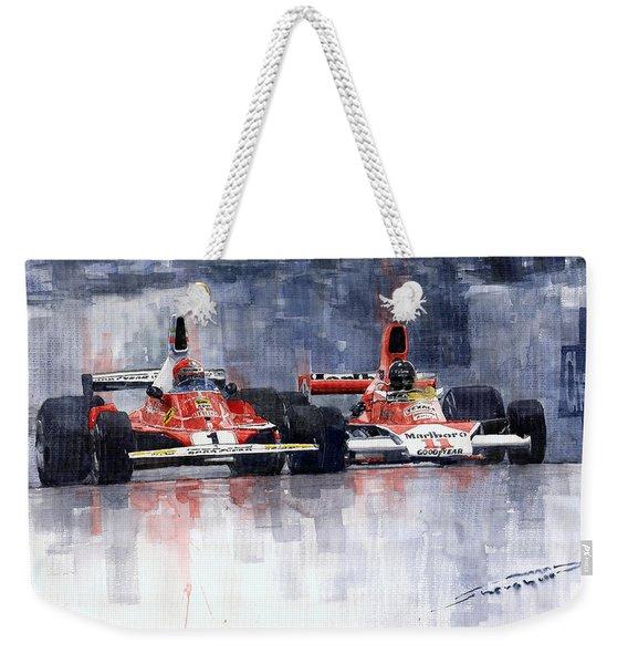 Lauda Vs Hunt Brazilian Gp 1976 Weekender Tote Bag