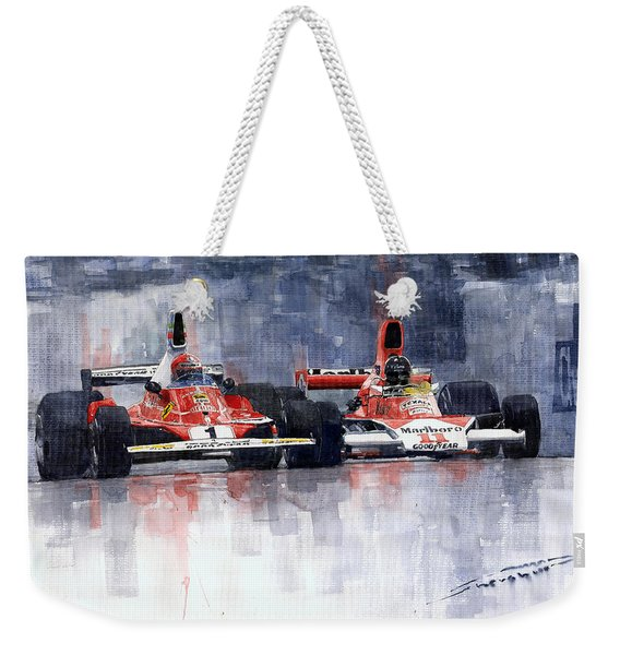 Lauda Vs Hunt Brazilian Gp 1976 Weekender Tote Bag