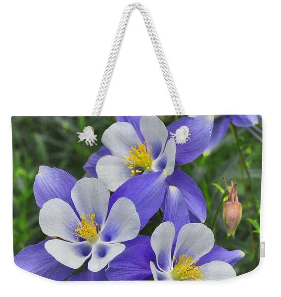 Weekender Tote Bag featuring the digital art Lavender And White Star Flowers by Mae Wertz