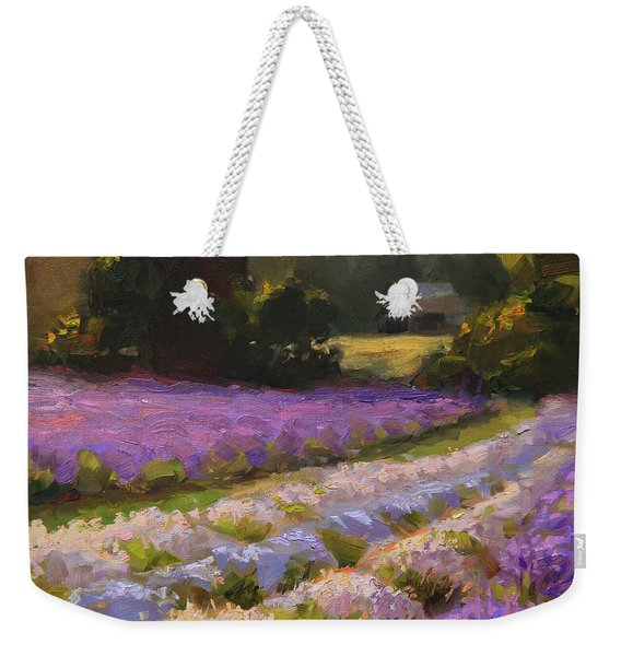Lavender Farm Landscape Painting - Barn And Field At Sunset Impressionism  Weekender Tote Bag
