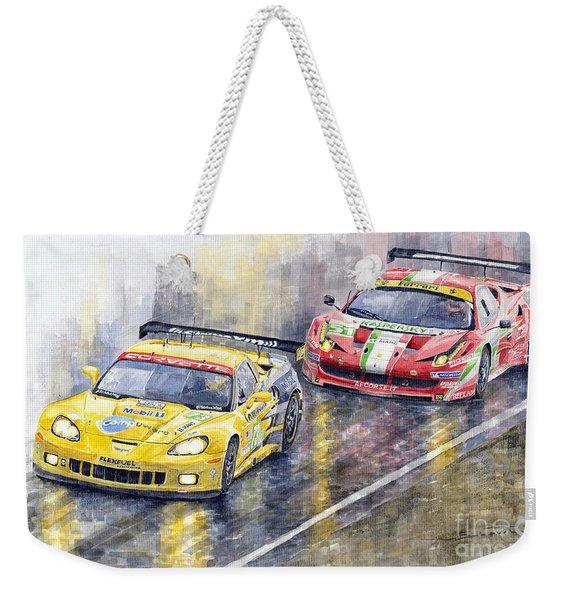 2011 Le Mans Gte Pro Chevrolette Corvette C6r Vs Ferrari 458 Italia Weekender Tote Bag