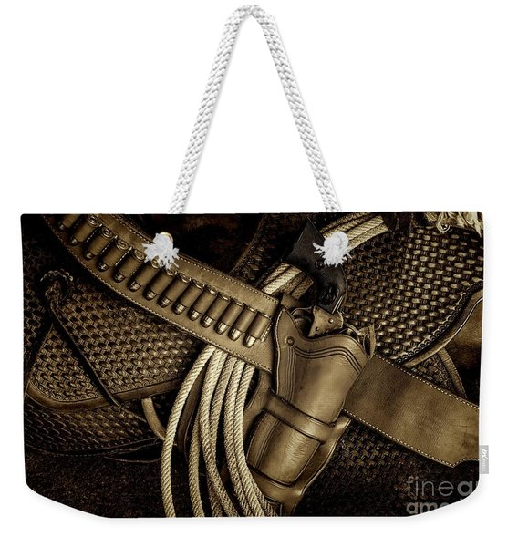 Leather And Lead Weekender Tote Bag