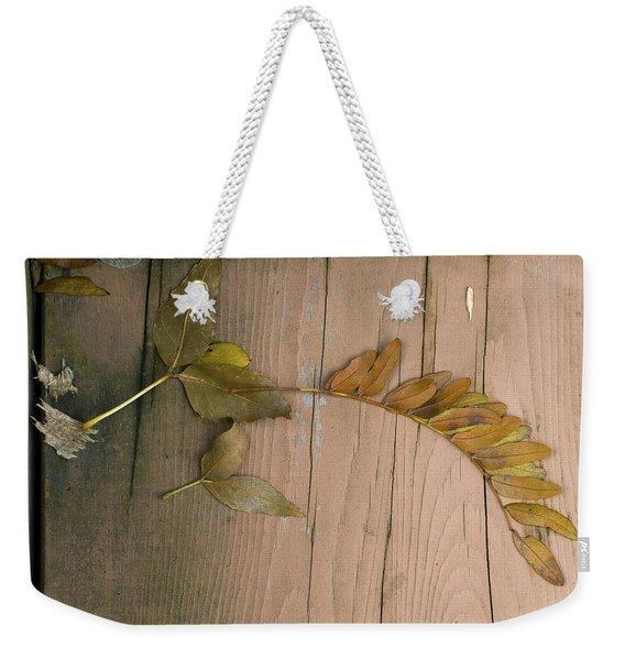 Leaves On A Wooden Step Weekender Tote Bag
