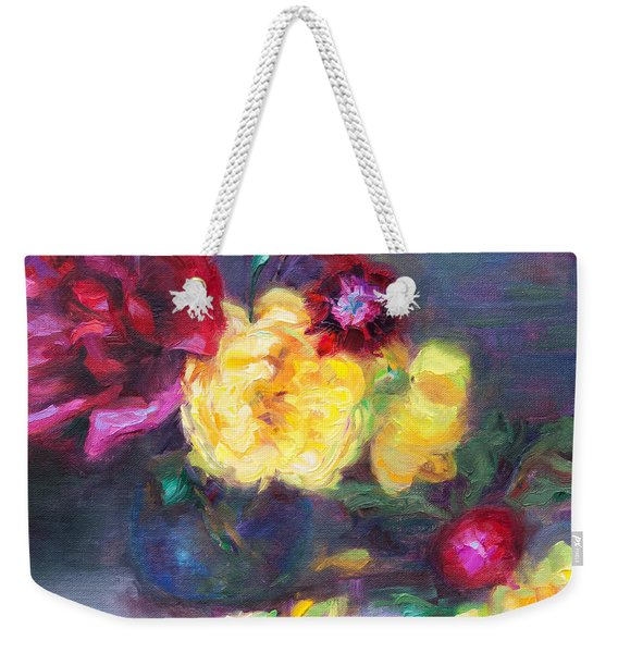 Weekender Tote Bag featuring the painting Lemon And Magenta - Flowers And Radish by Talya Johnson