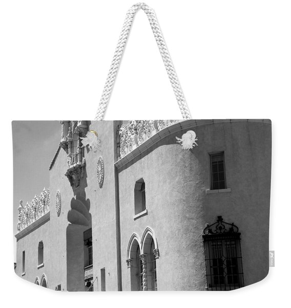 Weekender Tote Bag featuring the photograph Lensic Bw by Jemmy Archer