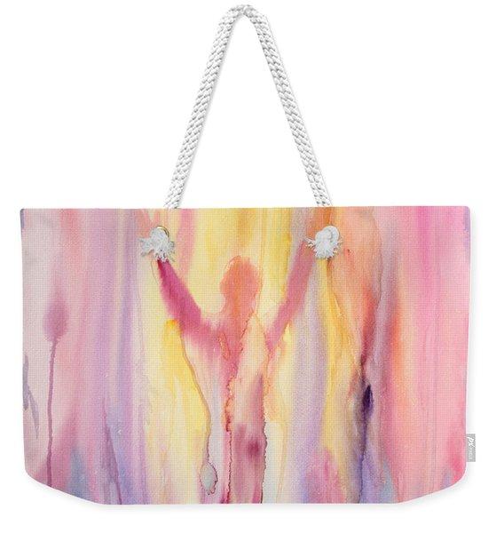 Weekender Tote Bag featuring the painting Let It Flow by Nancy Cupp
