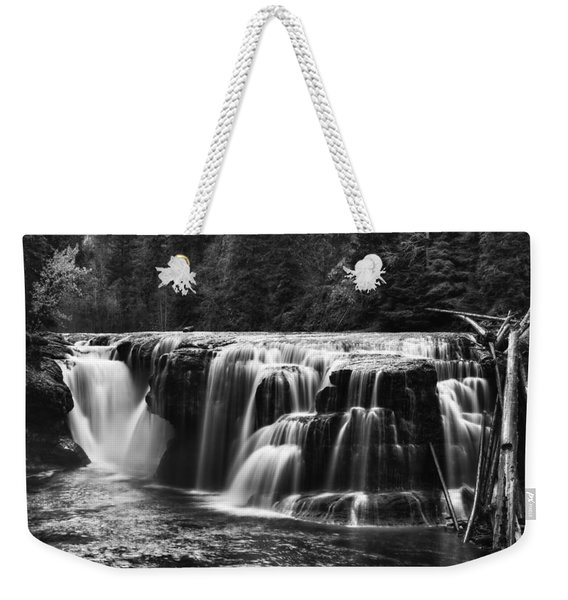 Lewis River Lower Falls Black And White Weekender Tote Bag