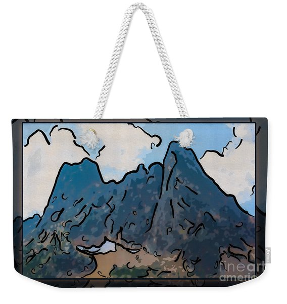 Liberty Bell Mountain Abstract Landscape Painting Weekender Tote Bag