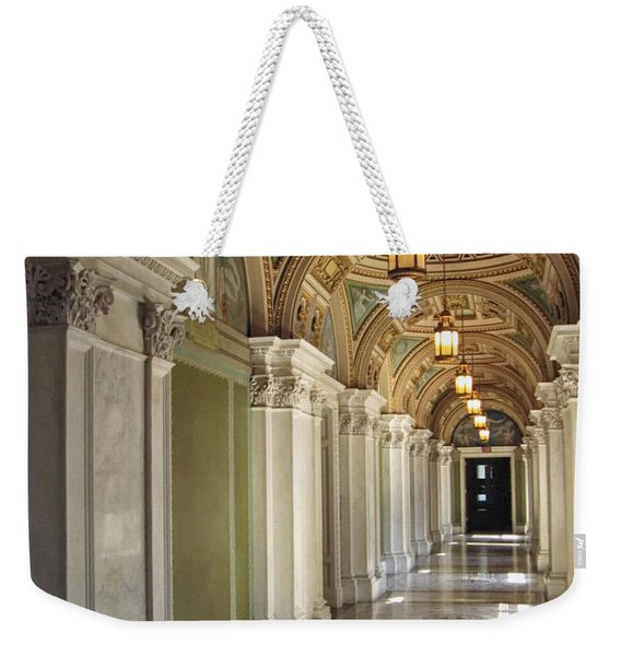 Weekender Tote Bag featuring the photograph Library Of Congress Hallway Washington Dc by Mary Lee Dereske