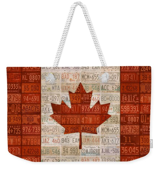 License Plate Art Flag Of Canada Weekender Tote Bag