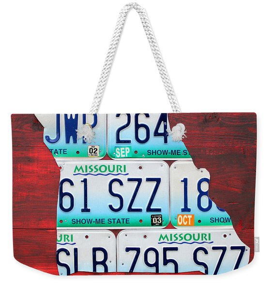 License Plate Map Of Missouri - Show Me State - By Design Turnpike Weekender Tote Bag