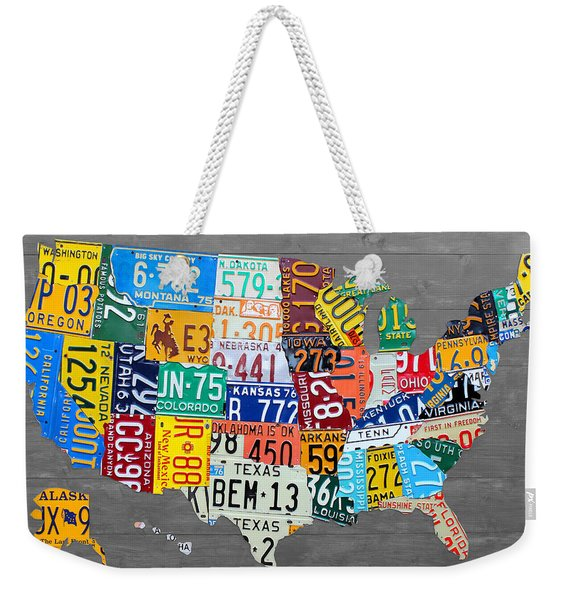 License Plate Map Of The United States On Gray Wood Boards Weekender Tote Bag