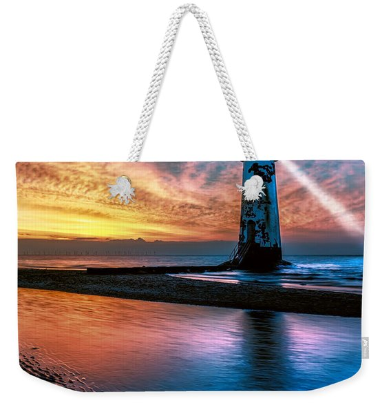 Light House Sunset Weekender Tote Bag