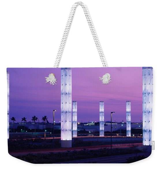 Light Sculptures Lit Up At Night, Lax Weekender Tote Bag