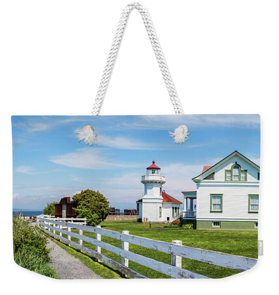 Lighthouse With Ferry Weekender Tote Bag