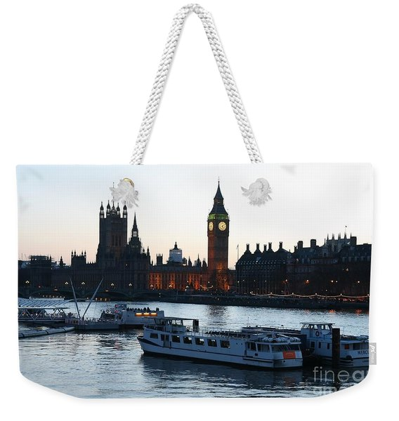 Weekender Tote Bag featuring the photograph Lighting Up Time On The Thames by Jeremy Hayden