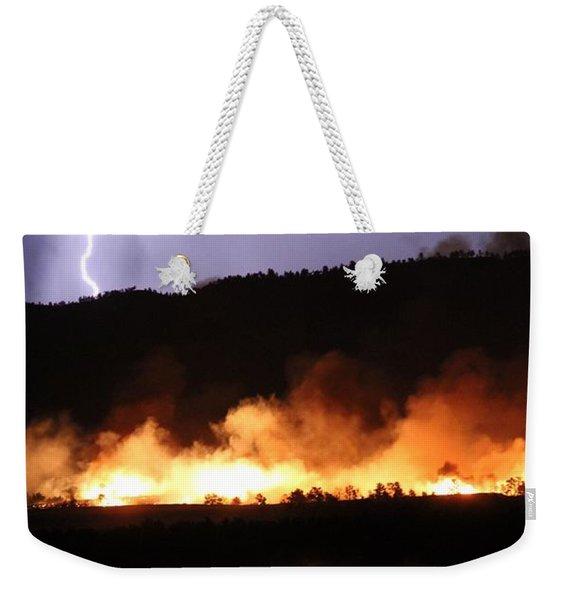 Lightning During Wildfire Weekender Tote Bag