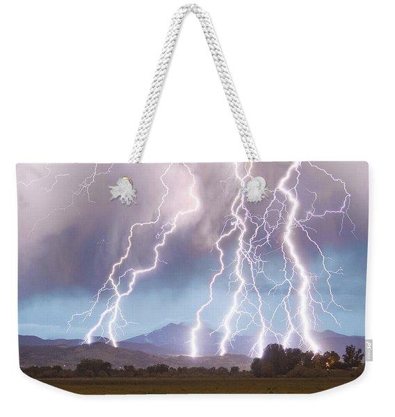 Lightning Striking Longs Peak Foothills 4c Weekender Tote Bag