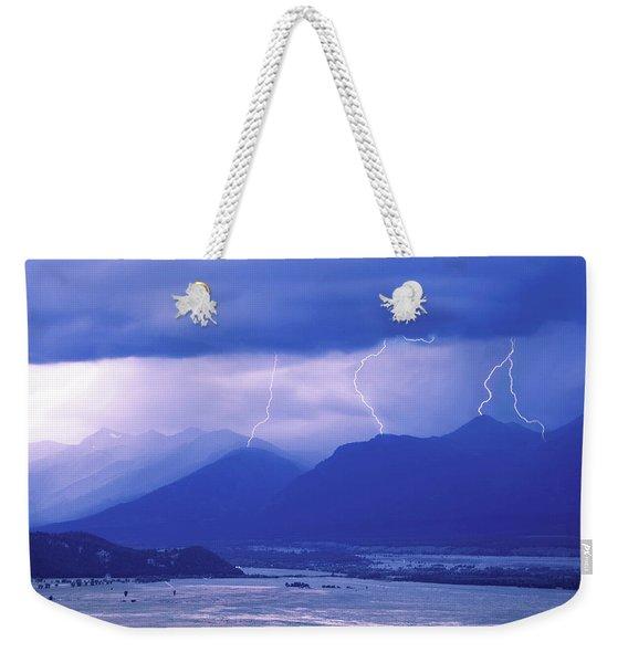 Lightning Striking Over The Grand Teton Weekender Tote Bag