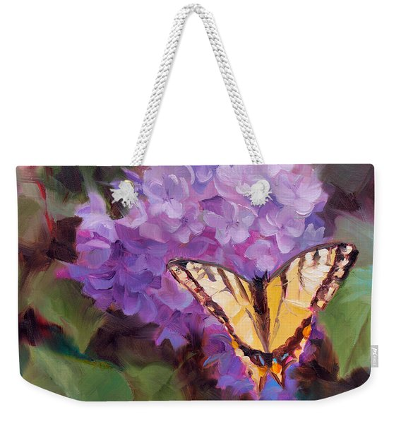 Lilacs And Swallowtail Butterfly Purple Flowers Garden Decor Painting  Weekender Tote Bag