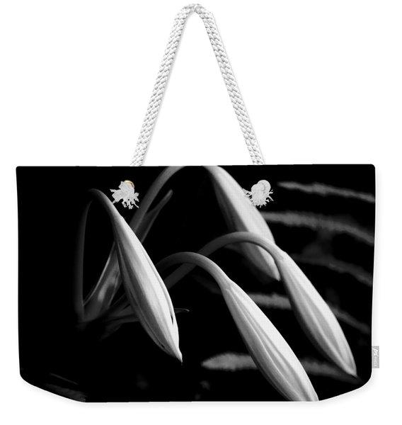 Lilies Of The Marsh B/w Weekender Tote Bag