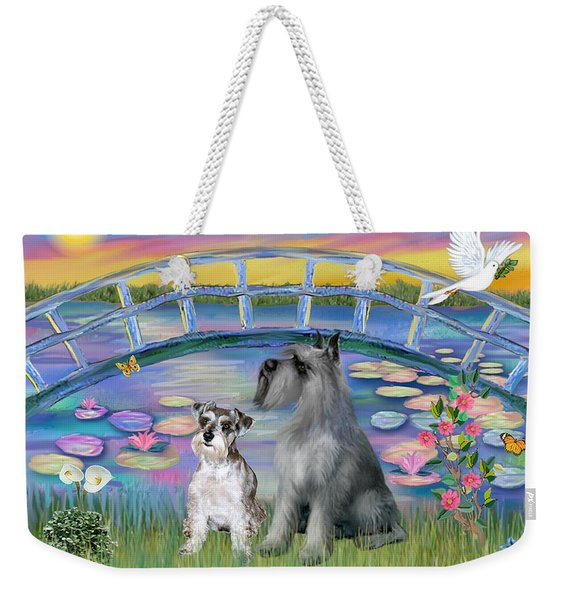 Lily Bridge With Two Schnauzers Weekender Tote Bag