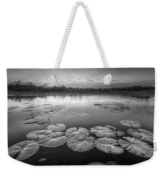 Lily Pads In The Glades Black And White Weekender Tote Bag