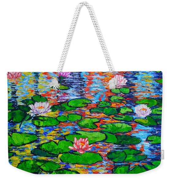 Lily Pond Colorful Reflections Weekender Tote Bag